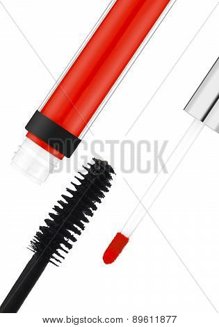 Black Mascara And Red Lipgloss Isolated On White