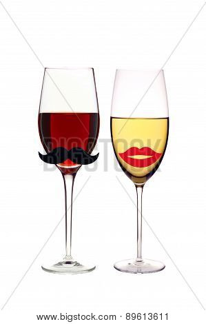 Glasses Of Red And White Wine Isolated On White