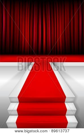 Red Carpet On Stairways And Podium With Curtain
