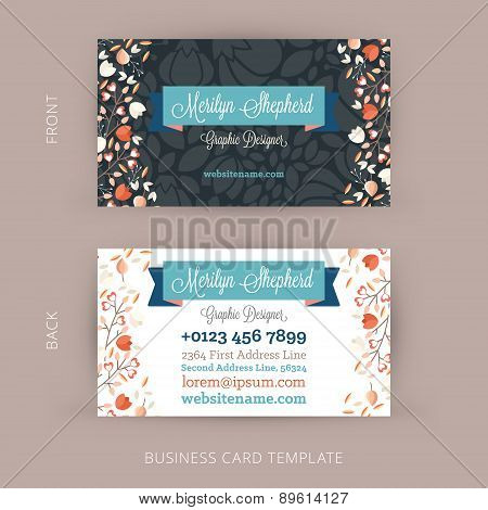 Vector Modern Creative And Clean Business Card Template. Floral Design