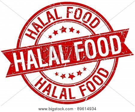 Halal Food Grunge Retro Red Isolated Ribbon Stamp