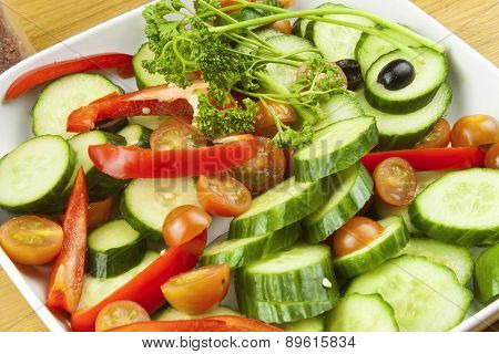 dinner plate with chopped vegetables, mix vegetables