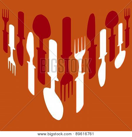 Cutlery Background Orange