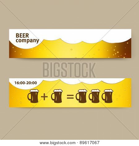 summer banner with beer and cups