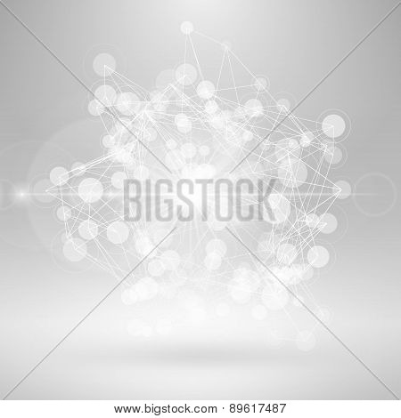 Wireframe Polygonal Element. Abstract 3D Object With Thin Lines And Lights