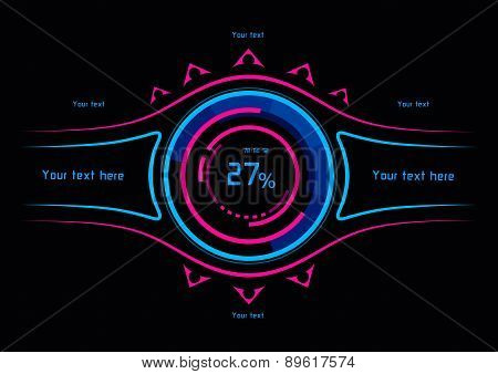 Blue And Pink Infographics As Head-up Display