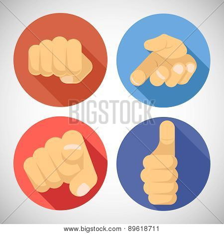 Open Palm Pleading Giving Pointing Finger Tumbs up Like Punchinf Fist Icon Symbols Concept Flat Desi