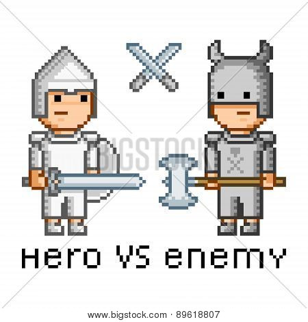 Pixel art hero and enemy