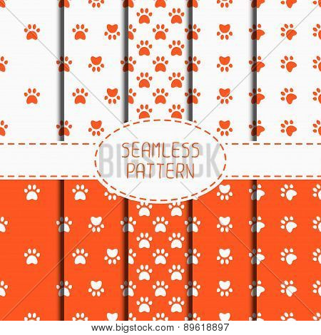 Set of seamless pattern with animal footprints, cat, dog. Wrapping paper. Paper for scrapbook. Tilin