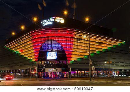 Night View Of Holland Casino In The Evening In Scheveningen, The Netherlands