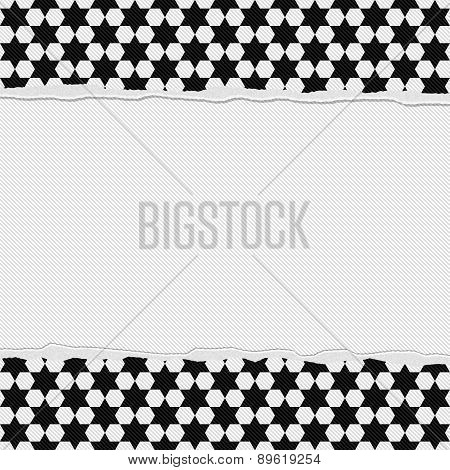 Black And White Star Frame With Torn Background