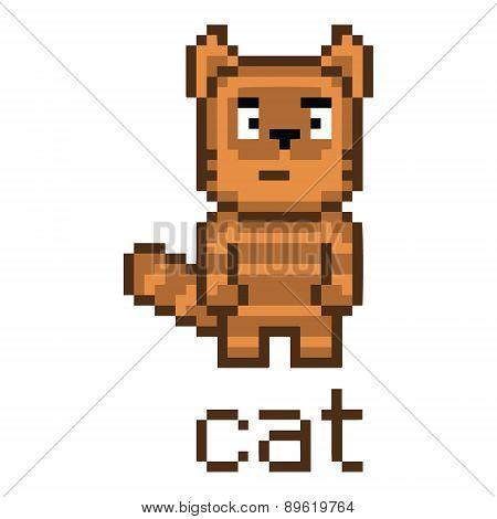 Pixel cute tabby cat
