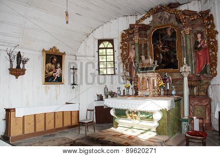 The interior of the wooden church in Zarova