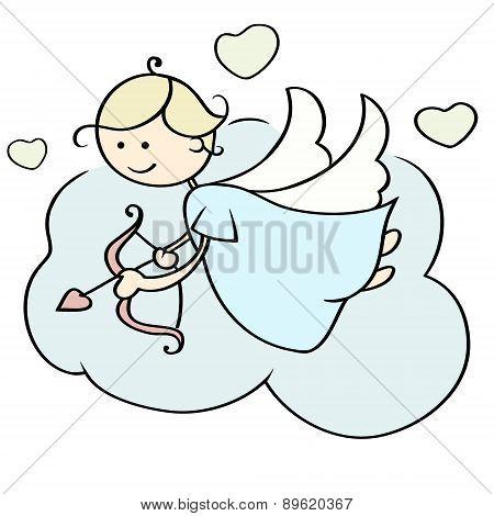 Cupid Flying On Cloud