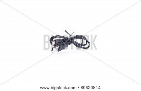 Single Black Usb-cable Isolated On White