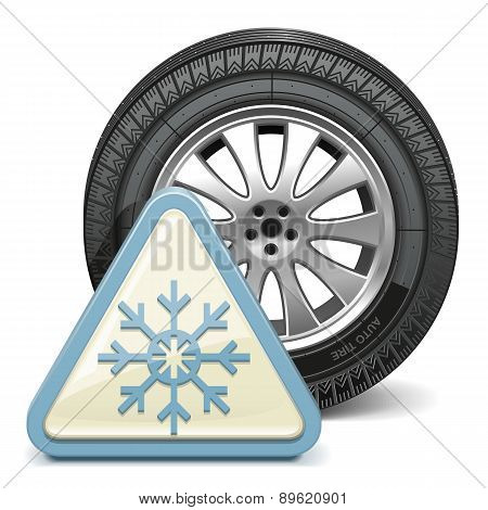 Vector Wheel with Snowflake Sign