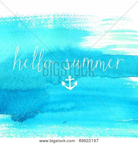 Blue watercolor texture with text hello summer.