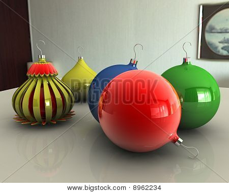 Christmas Balls On Table
