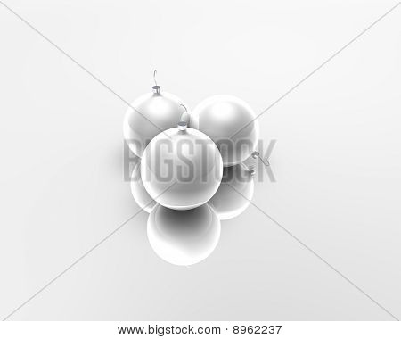 White Christmas Balls Over White Background