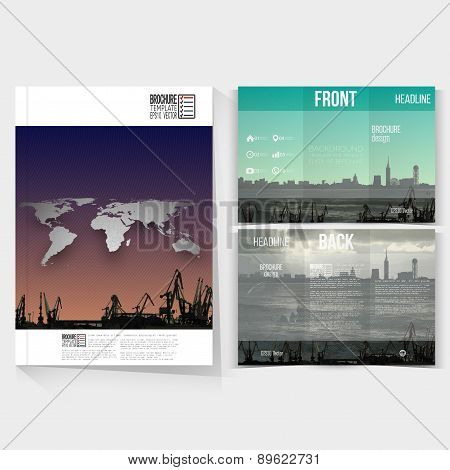 Shipyard and city landscape. Brochure, tri-fold flyer or booklet for business. Modern trendy design