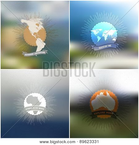 Adventure time posters. World maps with vintage style star burst on blurred background, retro elemen