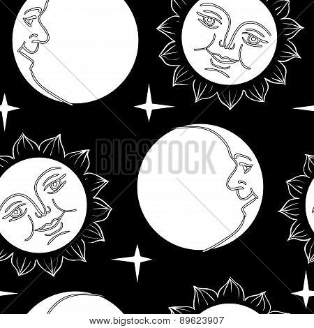 Seamless wallpaper the Moon and Sun with faces