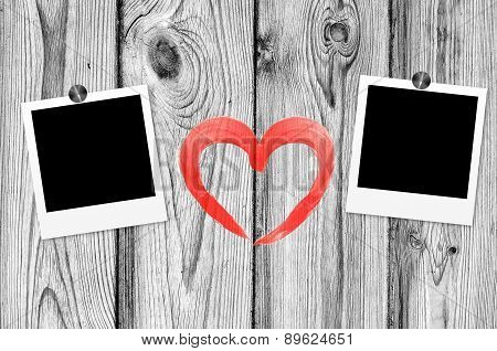 Blank Old Photos On Clips And Red Heart On Color Wooden Background