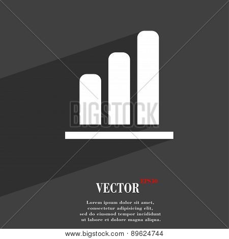 Growth And Development Concept. Graph Of Rate Icon Symbol Flat Modern Web Design With Long Shadow An