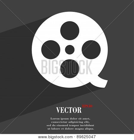 Film Icon Symbol Flat Modern Web Design With Long Shadow And Space For Your Text. Vector