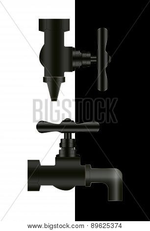 Two Water Taps On Black And White Background.