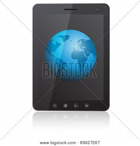 Tablet PC computer with globe screen