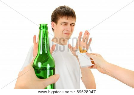 Teenager Refuse A Cigarette And Beer