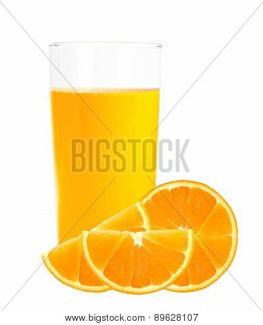 Orange Juice In The Glass And Orange Slices Isolated On White