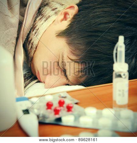 Sick Teenager Sleeping