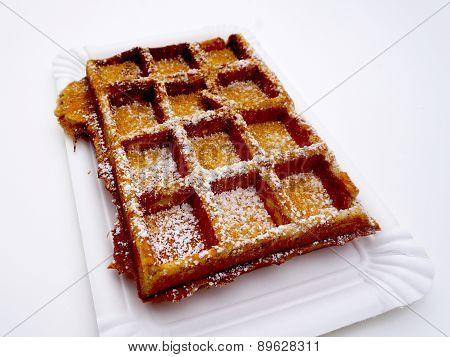 Baked Waffle With Sugar Isolated Bakery