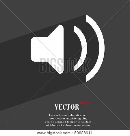 Speaker Volume, Sound Icon Symbol Flat Modern Web Design With Long Shadow And Space For Your Text. V