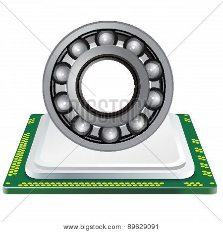 bearing and computer processor on a white background