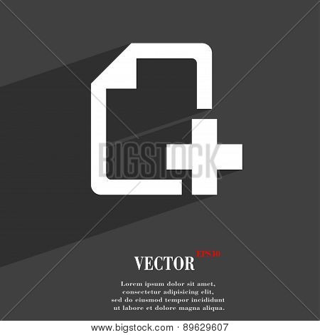 Add File Document Icon Symbol Flat Modern Web Design With Long Shadow And Space For Your Text. Vecto