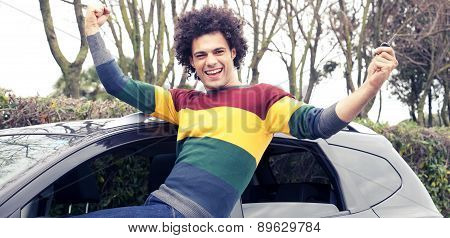 Successful Man Happy About New Car