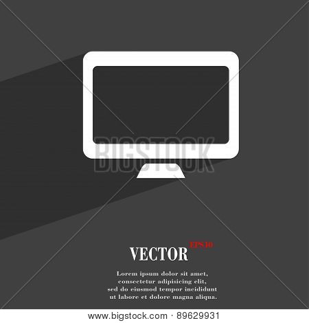Computer Widescreen Monitor Icon Symbol Flat Modern Web Design With Long Shadow And Space For Your T
