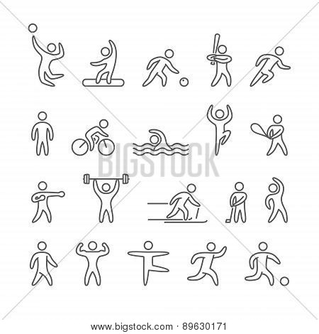 Outline figure athletes, different sports