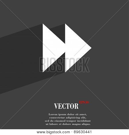 Rewind Icon Symbol Flat Modern Web Design With Long Shadow And Space For Your Text. Vector