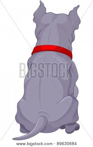 Illustration of cute pit bull dog back view