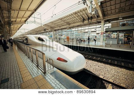 KYOTO, JAPAN - MAY 18: Train station exterior on May 18, 2013 in Kyoto. Former imperial capital of Japan for more than one thousand years, it has the name of City of Ten Thousand Shrines.