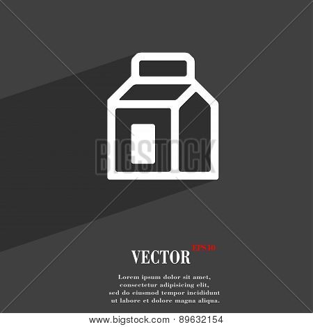 Milk, Juice, Beverages, Carton Package Icon Symbol Flat Modern Web Design With Long Shadow And Space