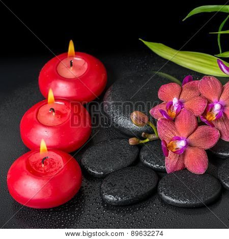 Beautiful Spa Setting Of Twig Red Orchid Flower, Phalaenopsis, Bamboo With Water Dew And Candles On