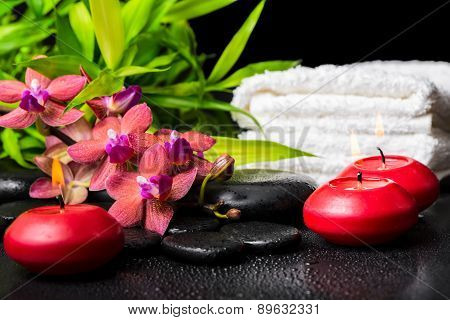 Spa Concept Of Blooming Twig Red Orchid Flower, Phalaenopsis, Bamboo With Dew, Towels And Candles On
