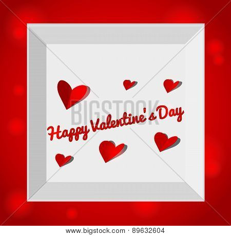 Valentin day illustration with gift box red paper hearts.