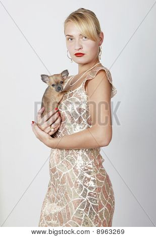 Attractive Lady with Chihuahua Puppy