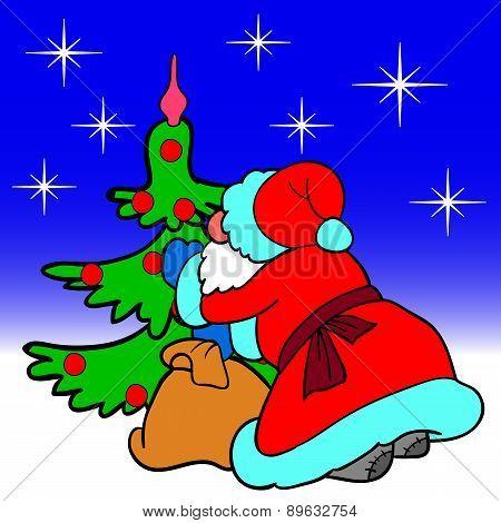 Santa Claus blowing dress up a Christmas tree balls